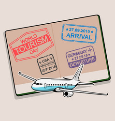 Tourism day greeting on open passport vector