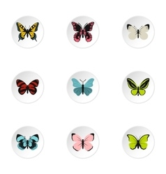 Types of butterflies icons set flat style vector