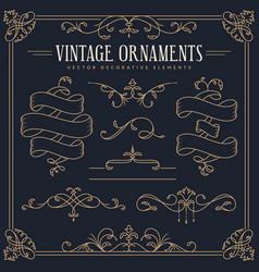 vintage design elements - ribbons dividers vector image