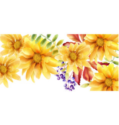 Watercolor orange sunflower with leaves and vector