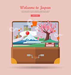 welcome to japan travel poster vector image