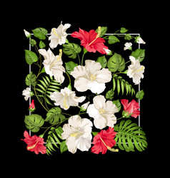 white and red hibiscus flowers in rectangle frame vector image