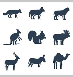 Wild animals icon collection vector image