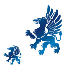 Winged gryphon mythical animal ancient emblems vector