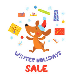 winter holidays sale banner with dog in santa hat vector image