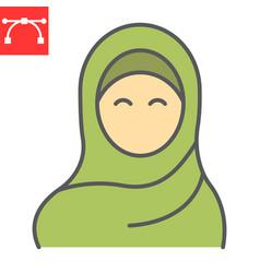 Woman wearing hijab color line icon arab girl vector