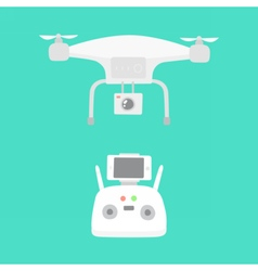 Aerial drone and drones controller vector image