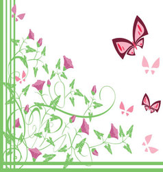 Flourishes with butterflies vector image vector image