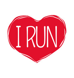 i love run text in red hand drawn heart logo sign vector image vector image