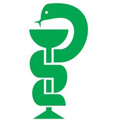 medical snake and bowl symbol for drugstore vector image