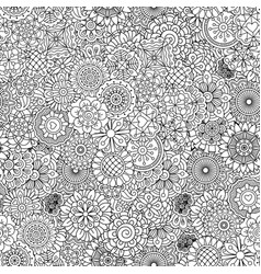 Outline ormanental flowers pattern vector