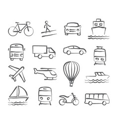 transport doodle icons vector image vector image