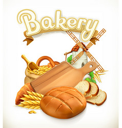 Bakery Bread 3d logo vector image vector image