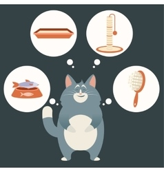 Cat and its simple dreams vector image vector image