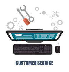 customer service computer support concept vector image