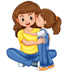 daughter kissing her mother vector image
