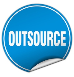 Outsource round blue sticker isolated on white vector