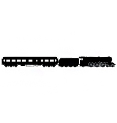 Steam train and carriage silhouette vector image vector image