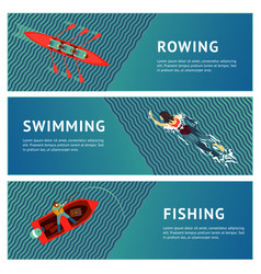 water sport horizontal banners set people vector image vector image