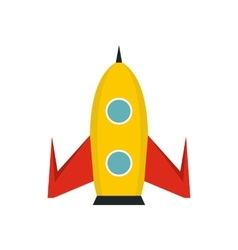 Yellow rocket icon in flat style vector image vector image