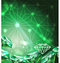 Background with green emerald vector image vector image