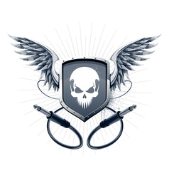 Badge with skull emblem and wires vector image