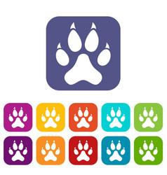 cat paw icons set flat vector image