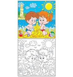 Children at a beach vector image