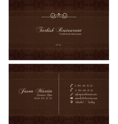 Decorative restaurant business card vector image vector image