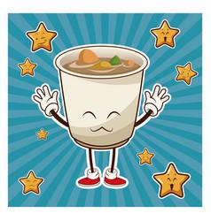 kawaii soup ramen japanese food funny character vector image vector image