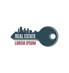 Real estate simple key logo template vector image