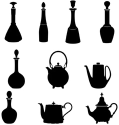 Six bottles and four teapots vector image
