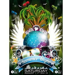 Summer beach party flyer design with disco ball vector