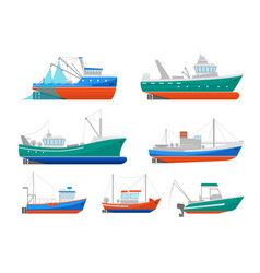cartoon fishing boats icons set vector image