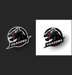 dragon sport logo two options vector image vector image