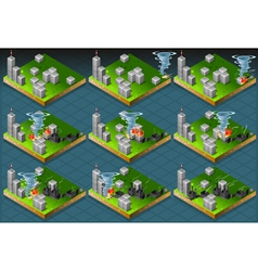 Isometric Natural Disaster Tornado Classifications vector image