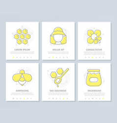 set of honey colored elements for multipurpose a4 vector image vector image