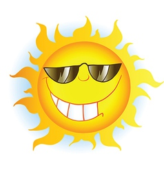 Sun Cartoon Mascot Character With Sunglasses vector image vector image