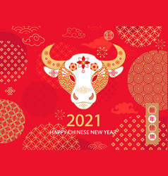 2021 chinese new year red greeting card with bull vector image