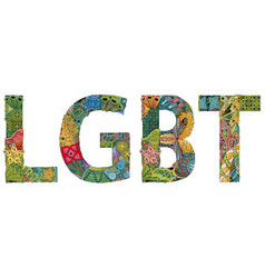 Abbreviation lgbt zentangle object for vector