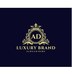 Ad initial letter gold calligraphic feminine vector