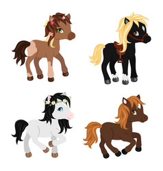 Adorable cartoon horses characters vector