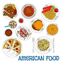 American fast food and grilled dishes sketch icon vector