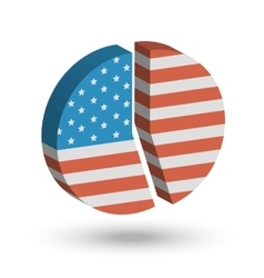 American Flag Pie Chart 3D vector image