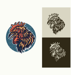 Angry rooster head vector