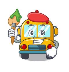 artist school bus character cartoon vector image