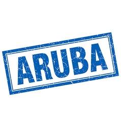 Aruba blue square grunge stamp on white vector