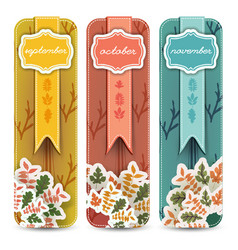 autumn hand drawn banners set vector image