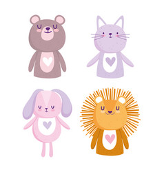baby shower cute cartoon animals lion cat bear vector image