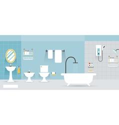 Bathroom furniture display panorama vector
